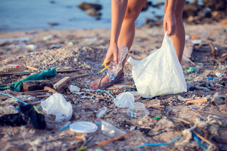 picking-up-trash-beach